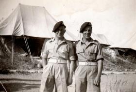 Gunners Percy and Ernest Lemon, 211 Airlanding Light Battery RA, Nathanya, Palestine, 3 May 1946.