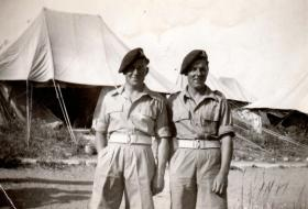 Gunners Percy and Ernest Lemon, 211 Airlanding Light Battery RA, Nathanya, Palestine, 3 May 1946.