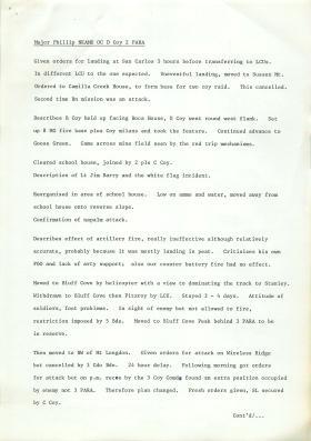 Account of 3 PARA's actions at Falklands by Maj Philip Neame.