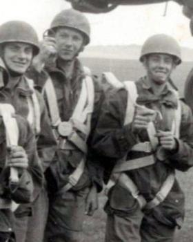 Spr Morgan, centre, preparing to board a Halifax aircraft with friends at Netheraven 1948.