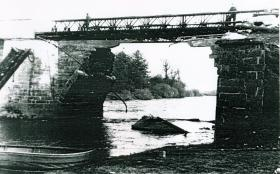 Neustadt bridge after the Royal Engineers' repairs 9 April 1945
