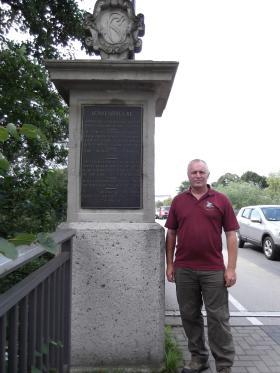 Bob Hilton at the 7th Battalion memorial, Lion bridge Neustadt, August 2011