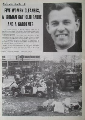 Newspaper article 16 Para Bde HQ bombing, Aldershot, February 1972.