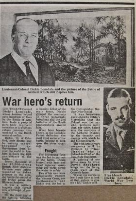 Newspaper article about 'Dickie' Lonsdale on 40th anniversary of Arnhem, 1984.