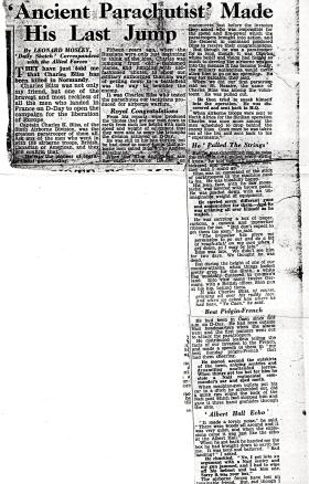 Newspaper article from The Daily Sketch reporting the death of Major Colin Bliss 1944