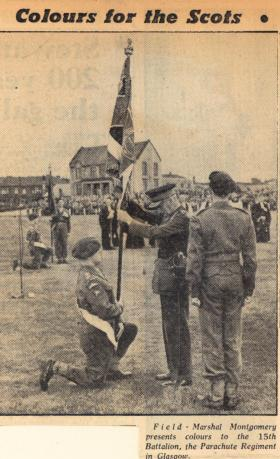 Newspaper photograph 15 PARA Colours presentation, Glasgow September 1952.