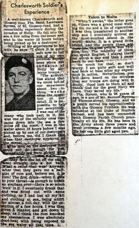 Newspaper cutting about Pte Byrom in Sicily, 1943.