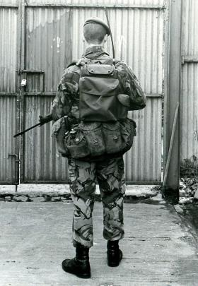 Soldier ready to go on patrol with radio in Northern Ireland, date unknown.