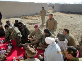 Major Nick French, 3 PARA, talks to locals, Op Herrick XIII, 2011.