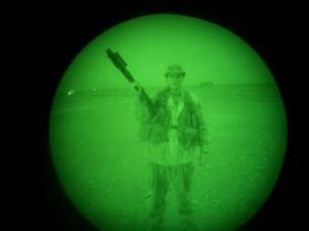 Pte Phillipson on night patrol, Op Telic III, Iraq, 2005.