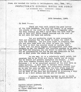 Letter From Air Marshal Leslie Hollinghurst to Captain Bob Midwood, 16 November 1948.