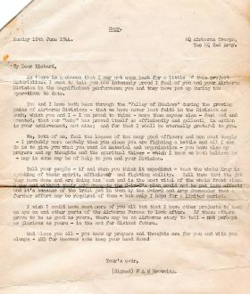 Lt Gen 'Boy' Browning's letter to Maj Gen Gale, 18 June 1944.
