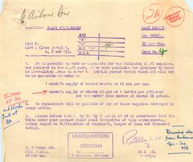 Document about NAAFI supplies of boiled sweets and whisky or gin.