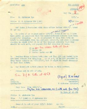 Letter from Gale about state of ammunition for dropping on D-Day.