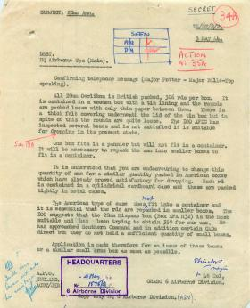Letter about packing of 20mm Oerlikon ammunition.