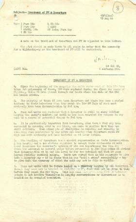 Note on treatment of deserters and prisoners of war.