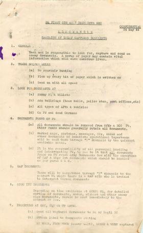 Memorandum on handling of captured enemy documents.