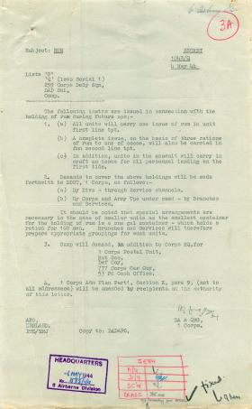 Instructions about the holding of rum by units.