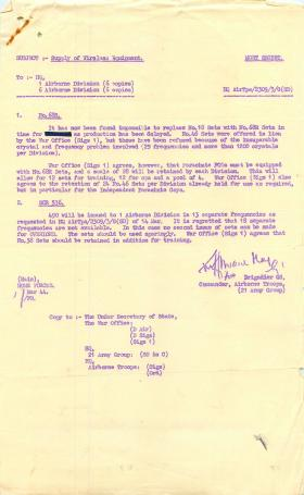 Letter about supply of wireless equipment for Operation Overlord.