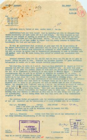Letter about transport for Operation Overlord.