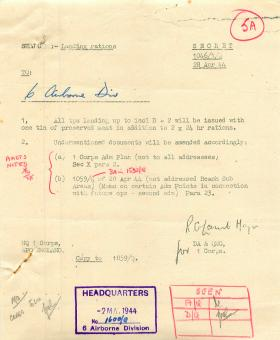 Document outlining landing rations.