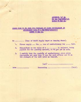 NAAFI confectionary order form.