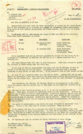 Letter about whisky rations for troops.