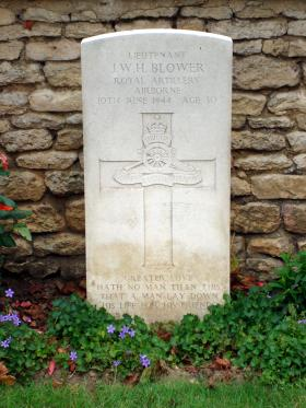 Headstone of Lt J Blower, Ranville Churchyard, taken June 2014.
