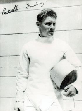 Cpl Macefield in his fencing kit, 2 PARA, Cyprus, c1960.