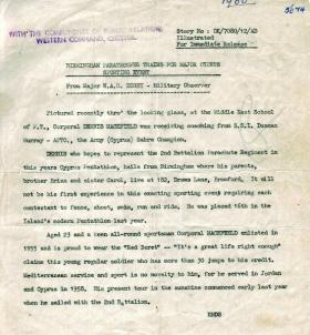 Military Observer Maj Digby's report on Cpl Macefield, Cyprus, 1961.