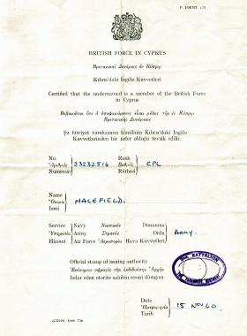 British Force in Cyprus identity certificate belong to Cpl Macefield, 1960.