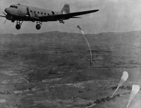 A practice drop from a Dakota, Northern India, 1945