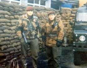 Two members of 3 PARA, Finiston School, Northern Ireland, 1974.