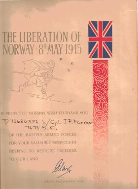 L/Cpl Jacob Farmer's Liberation Certificate and envelope