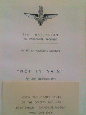 "Extracts from ""Not in Vain"" Booklet, issued by men of 3rd Battalion, The Parachute Regiment who returned from Arnhem."