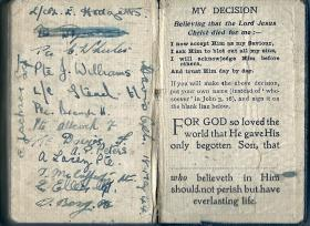 Pages from a Bible owned by Sgt Thomas Davis,