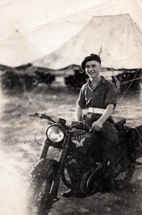 """Cpl Brown on """"Old faithfull"""", Palestine, date unknown."""