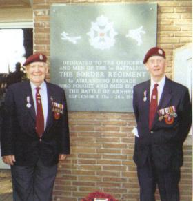 Edward John Peters at the Battle of Arnhem dedication to 1st Battalion, Border Regiment at Oosterbeek