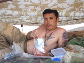 C/Sgt Mark Magreehan relaxing during Op Herrick XIII Afghanistan 2011
