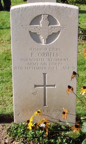 Headstone of L/Cpl Edward Orbell Oosterbeek War Cemetery, 2009
