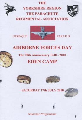 The Cover for the Order of Service, Yorkshire Region PRA, Airborne Forces Day, Eden Camp, 2010