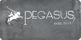 Original title header stencil template for Pegasus Goes To It!