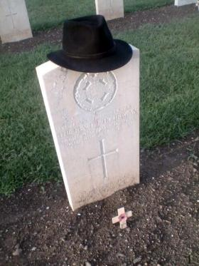 Headstone of Capt Father D Hourigan, Syracuse War Cemetery, Sicily, 2015.