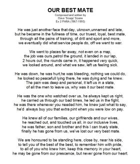 Our Best Mate - A poem in tribute to a fallen Airborne soldier