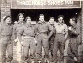 Members of 4th Parachute Squadron RE, outside the Three Horshoes, Glaston, Rutland, pre Op Market Garden c1944.