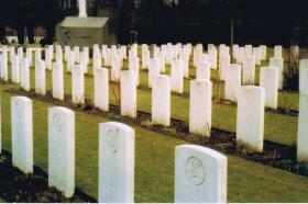 Graves of 2nd Ox and Bucks LI in Reichswald Forest War Cemetery, March 1985.