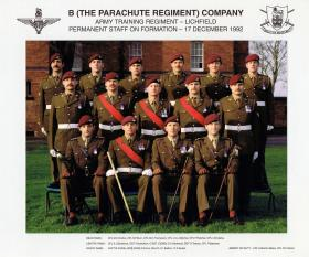 B (The Parachute Regiment) Coy, ATR Lichfield, December 1992.