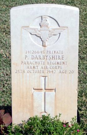 Grave of Pte Philip Darbyshire, Khayat Beach Cemetery, 1 January 2015.