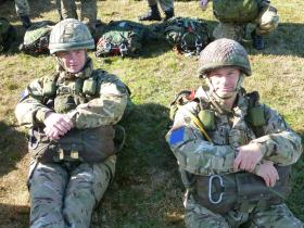 Two members of C Coy 2 PARA waiting to emplane, Eindhoven airbase, 22 September 2012.