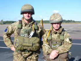 Two members of C Coy 2 PARA prior to emplaning a German Transall C 160, 22 September 2012.